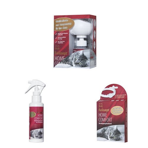 Felisept Home Comfort Set, Entspannungsmittel für Katze mit natürlichen Katzenminze, Beruhigungsspray mit Diffusor inkl. Flakon (1 x 45ml)