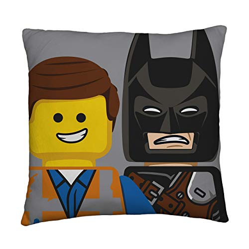 LEGO Movie Action Square Cushion | Officially Licensed Two Sided Batman & Emmet Design, Multi Coloured, 40 x 40cm