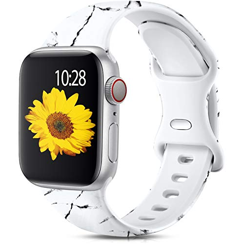 Muranne Marble Band Compatible with Apple Watch Bands SE 40mm 38mm for Women Men Fadeless Cute Pattern Printed Soft Silicone Sport Replacement Strap for iWatch Series 6 5 4 3 2 1, Marble M/L