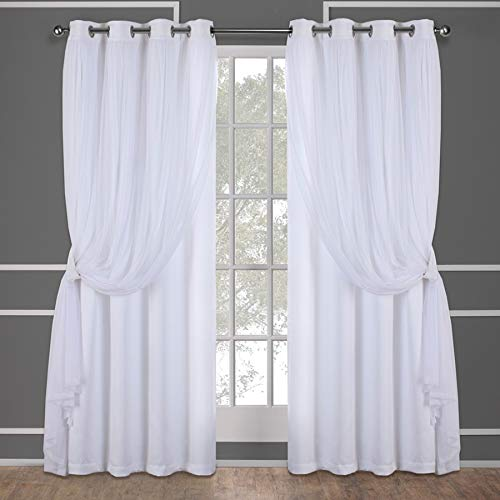 Exclusive Home Curtains Catarina Layered Solid Blackout and Sheer Window Curtain Panel Pair with Grommet Top, 52x84, Winter White, 2 Count