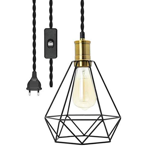 Modern Industrial Pendelleuchte Kit mit Schalter - Geometrische Hängelampe Vintage 4.5 Meter Schwarz gedrehten Hanfseil Lampenkabel Plug in Hängende Leuchte für Restaurant Küche - E27 Lampenfassung