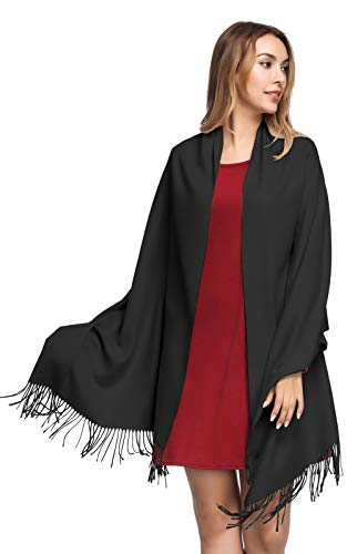 Pashmina Shawls and Wraps for Women - PoilTreeWing Solid Color Cashmere Scarfs(Black)