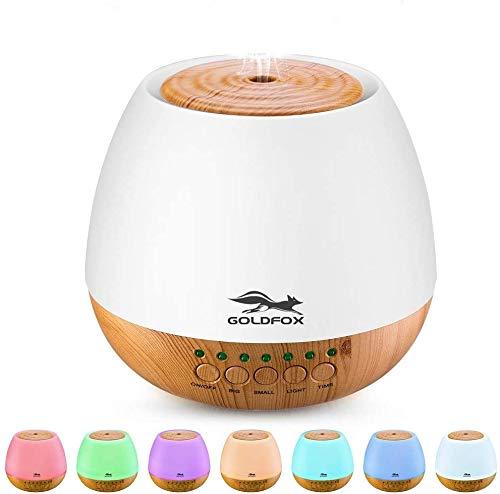 Aroma Diffuser 400ml, GOLDFOX Aromatherapie Diffuser Duftlampe Öle Diffusor Nachtlicht mit 7 Farben LED,Diffusor 30-35ml/h Nebelmenge für Raum,Büro,Yoga,Spa,usw.