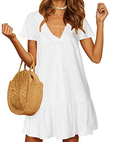 YOINS Damen Sommerkleid Kurzarm Minikleid Einfarbig V-Ausschnitt Homewear Blusenkleid mit Knopfen T-Shirtkleider Tunikakleid Weiß L
