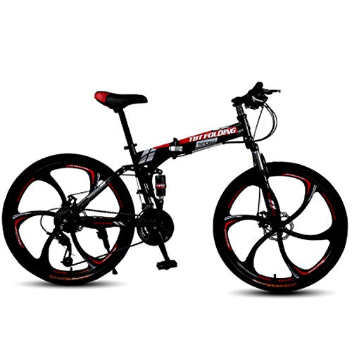 FuLov Full Suspension Mountain Bike, 20/24/26Inch MTB, Folding Bikes for Adults, High-Carbon Steel Hardtail Mountain Bike for Men And Women,Red,20inch 21speed