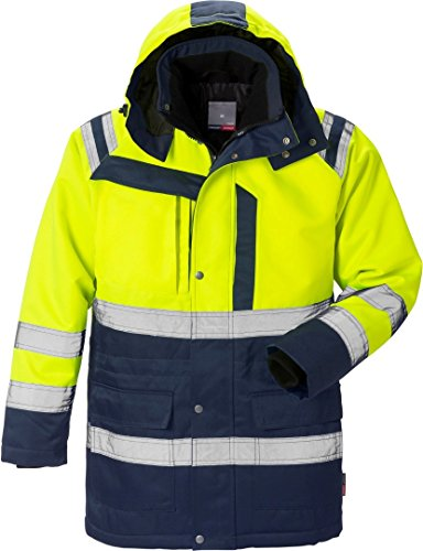 Fristads 119629 Arbeitskleidung Kansas Workwear High Vis Parka Hi-Vis Gelb/Navy L