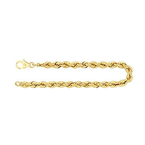 Feines Armband Damen Echt Gold 5.4 mm, Kordelkette hohl 333 aus Gelbgold Goldarmband mit Stempel und Karabinerverschluss, Länge 21 cm, Gewicht ca. 6.7 g, Made in Germany