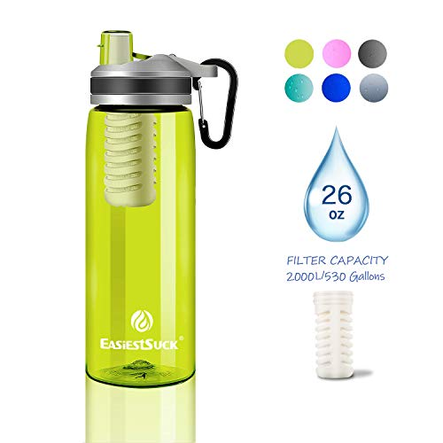 Easiestsuck Filter Water Bottle 26 oz,Medical Grade Filtered Integrated Outdoor Water Bottle,Leak Proof One Click Flip Top, Hiking,Camping,Travel,Backpacking - BPA Free