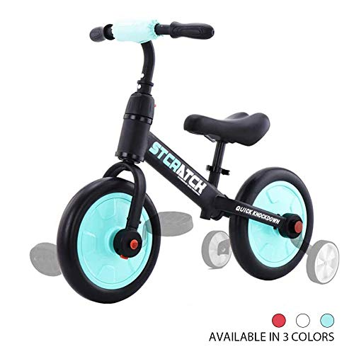 Zavofly Balance Bike for 2-5 Years Old Boys & Girls, 4-in-1 Kids Bike with Training Wheels & Pedals (Sky Blue)