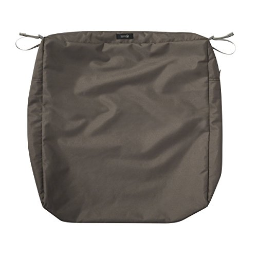 Classic Accessories Ravenna Square Patio Seat Cushion Slip Cover - Durable Outdoor Cushion, Dark Taupe, 23'L x 23'W x 5'Thick