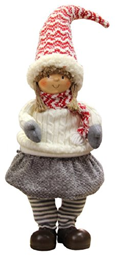 Northlight Red Gray and Ivory Young Girl Gnome Christmas Tabletop Decoration, 19.5'