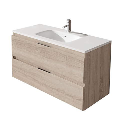 Mueble Montado 100cm Roble claro 2 Cajones + Lavabo