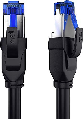 CSL - 50 cm Cavo di Rete Cat 8 di Alta qualitá - 40 Gbits - SFTP PIMF - RJ45 Switch Router Modem Access Point - Cavo ethernet LAN Fibra – Compatibile Cat 5 e Cat 6 - Nero da 0,5 Metri