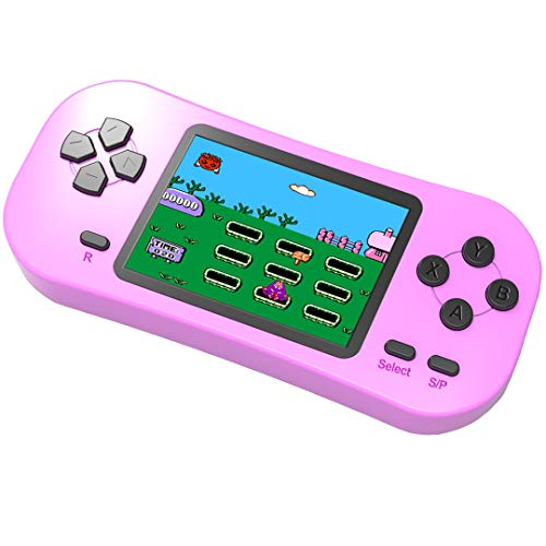 Bornkid Handheld Spielekonsole für Kinder und Seniors mit Integriertem 218 Videospiel 2,5 Zoll Wiederaufladbar Electronic Handheld Spiele hat 3,5 MM Kopfhörerbuchse (Rosa)