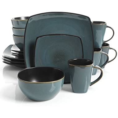 Gibson Home Soho Lounge Square Stoneware 16-piece Dinnerware Set - Teal