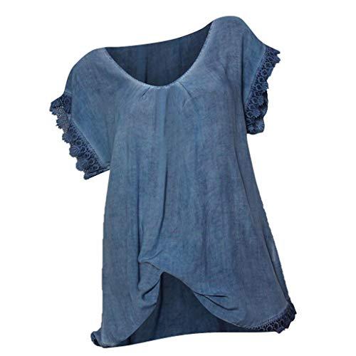 Momoxi Damenmode Sommer Print One-Shoulder V-Ausschnitt Kurzarm Loose Top T-Shirt Sleeved Loose Tank Shirt Blau M