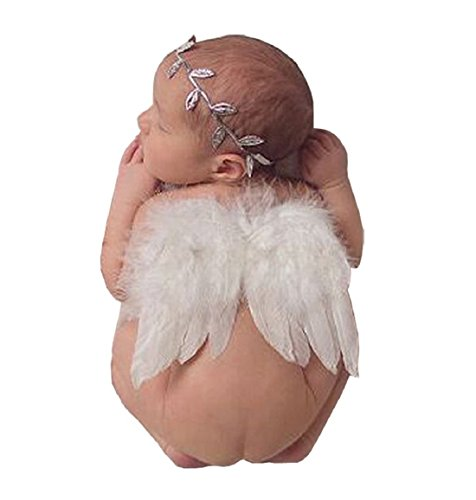 June Bloomy Baby Angel Feather Wings Photograph Props with Headband (White)
