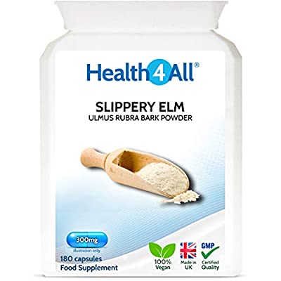 Slippery Elm 300mg 180 Capsules (V) Digestive Health. Acid Reflux Support. Vegan. Made in The UK by Health4All