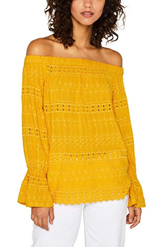 ESPRIT Damen 059EE1F009 Bluse, Gelb (Brass Yellow 720), (Herstellergröße: 40)