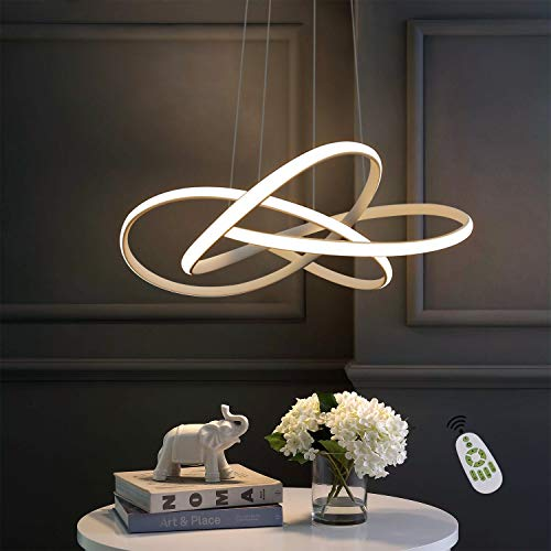 ZMH Lámpara colgante LED para mesa de comedor en color blanco Ø62 CM anillos candelabro salón 68W regulable con mando a distancia regulable en altura iluminación interior restaurante dormitorio