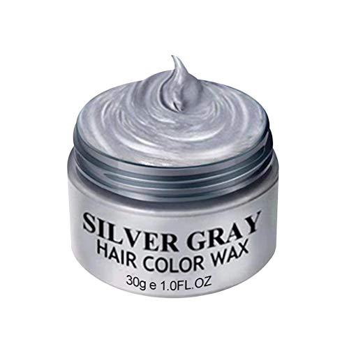 VIVILIAN Silver Grey Haarfärbemittel, Temporäres Haarstylingwachs, Haarfarbenwachs für Männer und Frauen, Haarstyling-Cremeschlamm für Party, Cosplay und Halloween (Silbergrau)