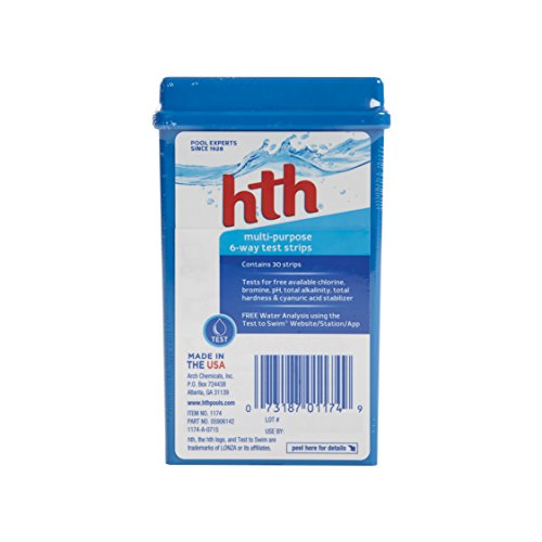 HTH 1174 Multi-Purpose 6-Way Test Strips for Swimming Pools, 30 ct
