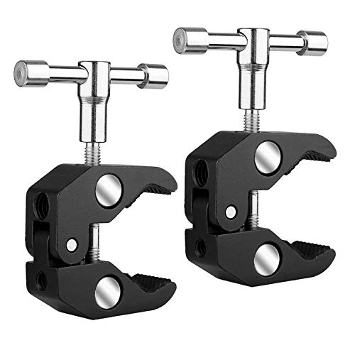 SLOW DOLPHIN Photography Super Clamp w/1/4'' and 3/8'' Thread Clip for DSLR,Cameras, Light Stand , Rods,Lights, Umbrellas, Hooks, Shelves, Cross Bars (2PCS)