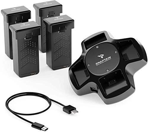SNAPTAIN Batterie-Kits für SP600 Drohne, Ersatzakkus für SP600 Drohne, 4-in-1-Batterieladestation mit 4 modularen wiederaufladbaren Li-Po-Batterien.