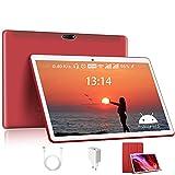 Tablets 10.1 Pulgadas DUODUOGO, Android 10.0 Tablets con 4GB RAM + 64GB ROM 5G WiFi Tablet PC, Google Netfilx, 1.6GHZ, Quad-Core Doble Cámara Tablet con Funda de Cuero (Rojo)