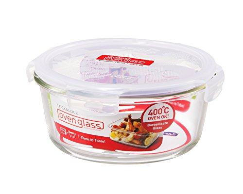 LOCK & LOCK GLASS, 4.0 Cup, Borosilicate Glass, Oven Safe, BPA Free, 100% Airtight, Glass Round Food Storage Container with Lid