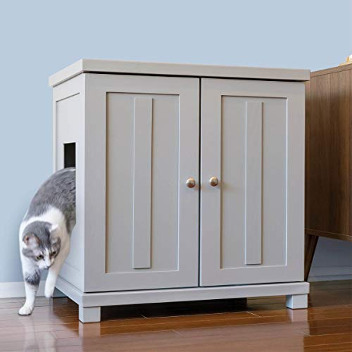 The Refined Feline Cat Litter Box Enclosure Cabinet, Hidden Litter Tray Cat Furniture, Large +...