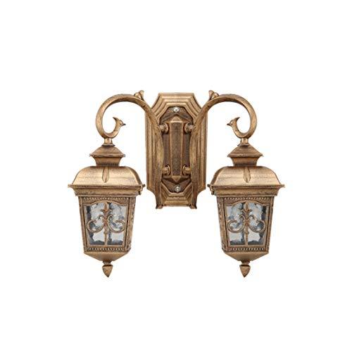 LRW Applique extérieure Cour intérieure, porte simple de style européen, lampe de table de soleil, couloir extérieur, lampe étanche murale, double tête couleur cuivre archaize.