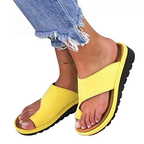 Ciabatte Donna Sandalo Scarpe Borsone Ortopedico Correttore Comodo Piattaforma Scarpe da Spiaggia estive (Color : Yellow, Shoe Size : 40)