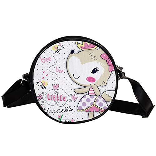 Dibujos animados Fox Girl Diagonal bolsa redonda Crossbody cartera, bolso de hombro Círculo de moda bolso bandolera Mini lona bolso de hombro inclinado