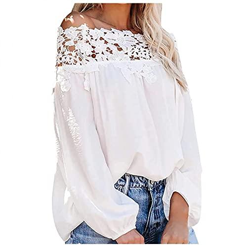 Fcostumer Blusa para mujer, camiseta de manga larga para mujer, sexy, de un solo hombro, de un solo color, túnica, para otoño e invierno, 01-blanco, XL