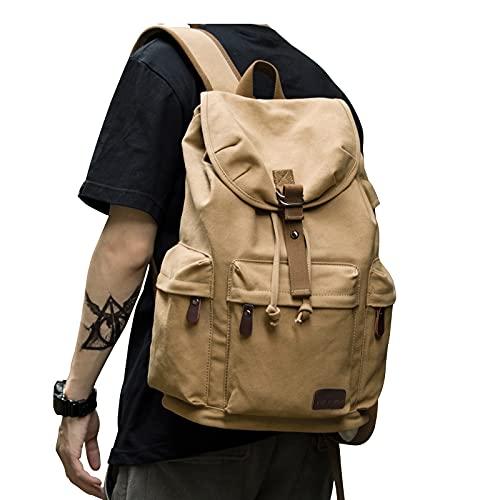 Canvas Vintage Backpack for Men Women,Travel Laptop Backpack with USB Charging Port,School College Backpack Book Bag Casual Rucksack Fits 15.6 Inch Laptop
