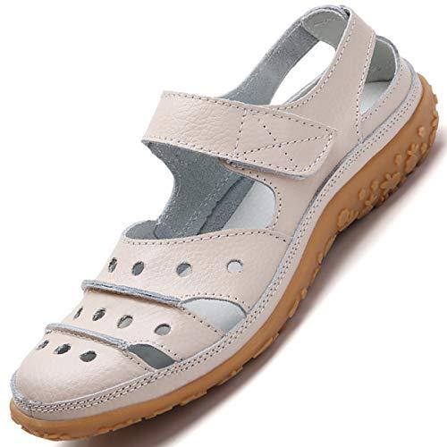Hsyooes Sandalias Mujer Cerrado Cómodos Moda Loafers Zapatos de Conducción para Señoras Zapatos Plano Verano para Caminar