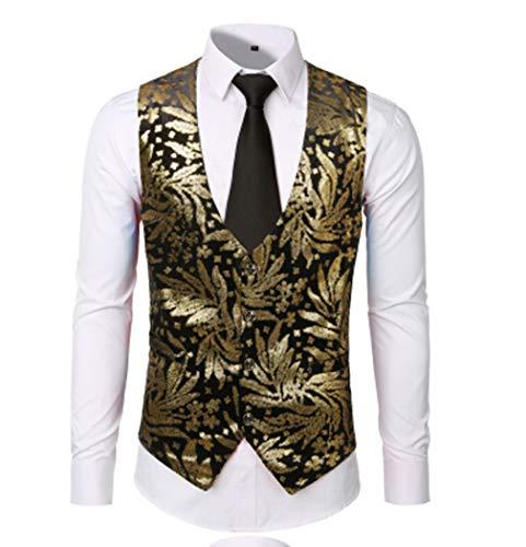 Heren Tailleband V-hals Single Breasted Goud Zilver Glanzend Bronzen Afdrukken Jurk Vest Slim Banket Pak Vest voor Bruiloft Dans Host Bar