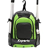 Ksports Baseball Bag Green- Backpack for Baseball, T-Ball & Softball Equipment & Gear for Youth and Adults - Holds Bats, Helmet, Gloves, Gear - Shoe Compartment & Fence Hook
