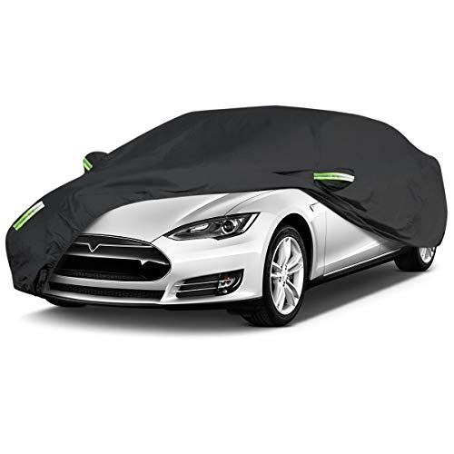 ELUTO Sedan Car Cover Waterproof All Weather Outdoor Car Covers UV Protection Windproof Black Full Car Cover for Sedan Fits up to 185''(185''L x 70''W x 60''H)