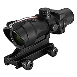 commercial CTOPTIC 4 × 32 Rifle Scope Red Horseshoe Reticle Hunting Telescope Optical Sight Real Red Fiber Reticle acog clone 4×32