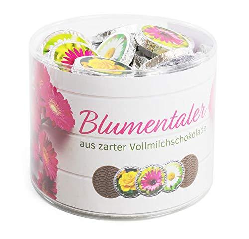 Klarsichtdose mit 60 Blumentaler feinste Vollmilchschokolade
