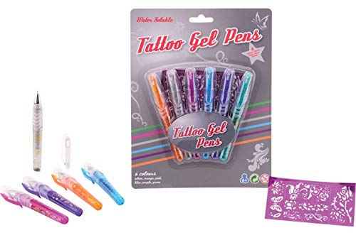 Smart Planet® Tattoostifte 6 Stück - Tattoo Gel Stifte - Tattoo Gelstifte mit Schablonen - Gel Pen - Multicolor - Tattoostift 6er Set mit Vorlagen