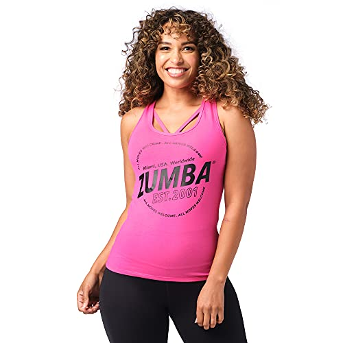 Zumba Fitness Soft Graphic Print Dance Workout Active Racerback Tops for Women, Pinky EST, L Camisa, Mujer