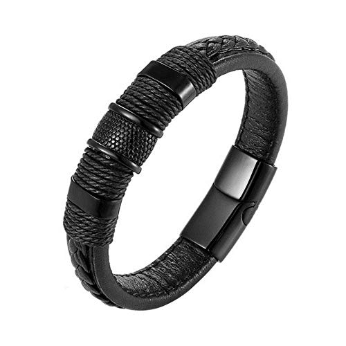 ASIG Armband Vlecht Echt Lederen Armband RVS Armband Mannen Geweven Bangle Zwart/Bruin