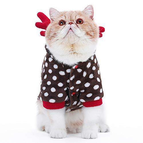 XZHH Kattenkleding Kerstkleding Warm Huisdier Party Rol Spelen Activiteit Kleding Kattenpak M Bruin