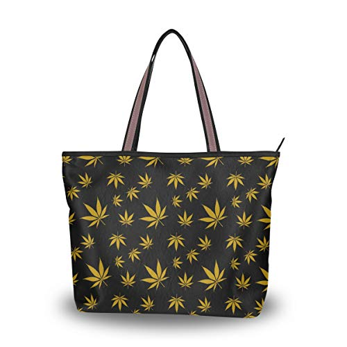 Bolso de mano para mujer, color dorado, hoja de marihuana, asa superior, informal, para el trabajo, talla L, color Multicolor, talla Large