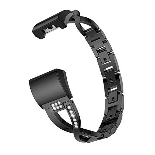XIALEY Bandas De Repuesto Compatible con Fitbit Charge 2, Reemplazo Pulsera De Acero Inoxidable para Mujer Correas Accesorio Joyería Pulseras De Metal para Charge 2,Negro
