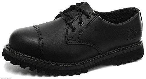 GRINDERS Regent schwarzem Leder Unisex Schuhe 3 Ösen Stahlkappe Kampf (39)