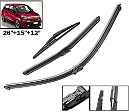 Xukey Front + Rear Windshield Wiper Blades Set Fit For Fiat 500L 2012-2017 (Set of 3)